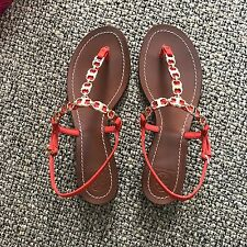 TORY BURCH Gemini Link Suede T-Strape Sandals (Red Canyon, Size 7.5)