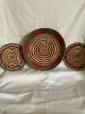 Lot Of 3 Vintage African Tribal Hand Woven Coiled Baskets Grass Fiber Art Bowls.