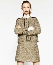 Zara Oro Metallizzato Luccicante Tweed Mini Gonna con / Frangia ~ Misto Cotone ~