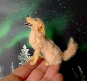 OOAK Golden retriever dog miniature 1:12 dollhouse miniature handsculpted IGMA