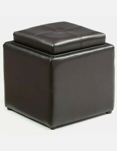 Hodedah Single Storage Ottoman with 1 Flip over Serving Tray in Brown