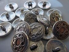Pack of 4 metal shank buttons carved round antique silver colour 17mm