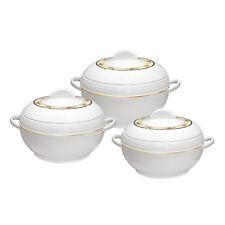 3pc Insulated Deep Casserole Hot Pot Set Food Warming Serving Dish Pot White AMB