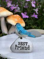 Miniature FAIRY GARDEN Terrarium Accessories ~ Mini BEST FRIEND Blue Bird Stone