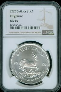 2020 SOUTH AFRICA 1oz SILVER KRUGERRAND NGC MS 70 FINEST KNOWN #C