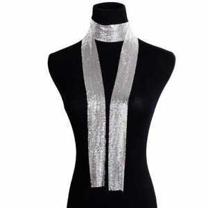 New Silver Mesh Scarf Necklace Earrings Women