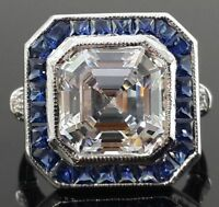 Vintage style party wear ring Solid Sterling Silver Cz Art Deco handmade jewelry
