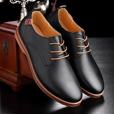 Men Business Dress Leather Shoes Flat European Casual Oxfords Lace Up Plus Size