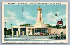 ROCHESTER MN CO-OPERATIVE OIL COMPANY GAS SUPER SERVICE STATION VINTAGE POSTCARD