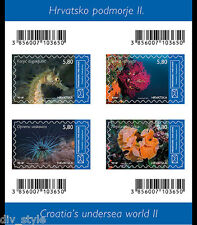 SOUS-MARIN II MARINE LIFE MINI FEUILLE DE 4 Timbres MNH Croatie 2015 Mer Cheval