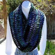 INFINITY SCARF LOOP COWL Black Blue Purple Green Crochet Knit Long Chunky Winter