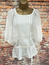Mango Suit White Top Shirt Tie Waist Elasticated Boho Indie- Size S