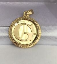 18k Solid Yellow Gold Letter Initial G Round Charm Pendant, 2.69 Grams