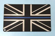 UNION JACK Thin Blue Line Sticker 52mm CHROME & BLACK - HIGH GLOSS DOMED GEL
