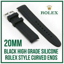 • 20mm Curved End, Silicone Rubber Watch Strap, High Quality For Rolex Models •
