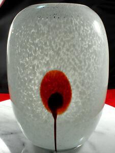 """Cased ART GLASS Vase Hand BLOWN Clouds Design 6.75"""" x 5"""" Ground Base PRISTINE!"""