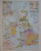 1933 Mapa Islas Británicas Leeds Glasgow Liverpool Mancheser Irlanda Navío Rutas