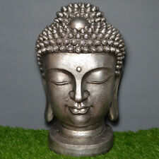 EXTRA LARGE BUDDHA HEAD SILVER EFFECT STATUE FIGURE ORNAMENT NEW & BOXED 61cm