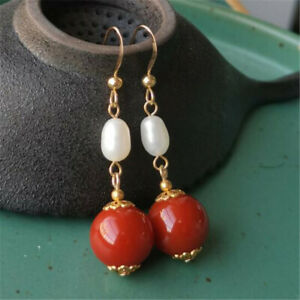 National fashion Red agate white pearl gold earrings Thanksgiving Beautiful