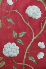 "COLEFAX AND FOWLER FABRIC DESIGN ""Snow Tree"" 6 METRES RED 100% LINEN"