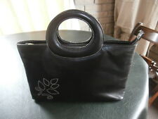 NEW 'JANE SHILTON' DARKEST BROWN LEATHER BAG, TWIN HANDLE, STUD BASE, 2 SECTIONS