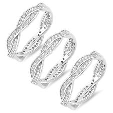 Clear Simulated Diamond Sterling Silver Infinity Ring - 3 Ring Lot  or 1 Ring