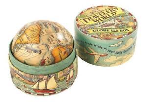 Globus in historischer Pappschachtel, Kleiner antiker Spielzeug Globus