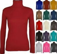 WOMEN LADIES HIGH POLO ROLL NECK SKINNY LONG SLEEVES RIB KNITTED JUMPER UK 8-16