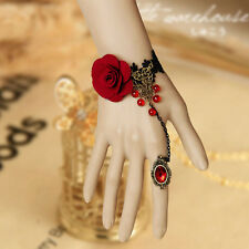 Pretty Women Gothic Retro Vintage Vampire Tassels Roses Ring Lace Bracelet New