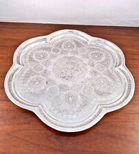 EARLY MAGNIFICENT PERSIAN 875 SOLID SILVER TRAY: TRADITIONAL ENGRAVED DECORATION