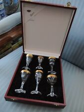 MOSER CZECH Cased SET OF SIX CORDIAL Glasses ADELA MELIKOFF Panel Cut GOLD GLASS