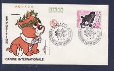 MONACO   enveloppe 1er jour   expo canine chien  caniche      1975