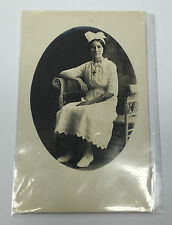 Vintage Real Photo RPPC Postcard Young Medical Nurse Weaved Bench Divided Era