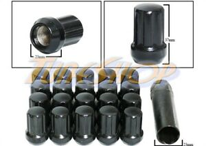20 DUPLEX 7 SPLINE WHEEL LOCK LUG NUTS KEY 14X1.5 M14 1.5 ACORN CLOSE END BLACK
