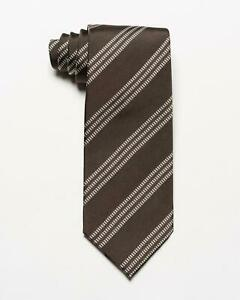 "Tom Ford NWT Brown Silver Diagonal Striped 100% Silk Tie 3.4"" Italy"