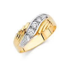 Men 14k 2 Tone Gold Groove Round Cz Anniversary Wedding Engagement Ring Band