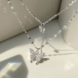 Fashion 925 Silver Double Butterfly Zircon Necklace Clavicle Women Jewelry Gifts