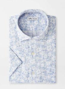 NEW 2021 PETER MILLAR S/S FLORAL AURA LINEN Sport Woven Shirt, MEDIUM, WHITE