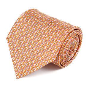 Salvatore Ferragamo Orange Silk Tie with Pink and Yellow Seahorse Print NWT $190