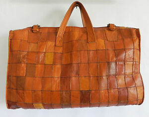 Vtg Hand Made OverNight Travel/Gym Bag Brown Leather Patching Handles 20x13x4