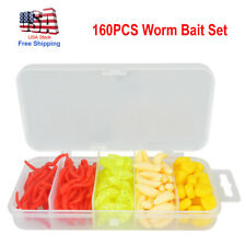 New listing 160PCS Fishing Lures Soft Bait Set Earthworm Corn Red Bread Worms Fishing Tackle