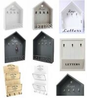 Vintage Letter Rack & Key Holder Hooks House Storage Shabby Chic Wall Mounted