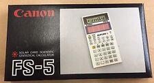 Vintage CANON SOLAR CARD SCIENTIFIC STATISTICAL CALCULATOR FS-5 RARE NEW IN BOX