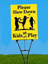 Please Slow Down Kids At Play 2 Sided Safety Coroplast Yard Sign W/Spider Stake