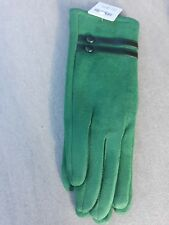 Green fashion gloves with double button detail cotton blend bnwt free UK p&p