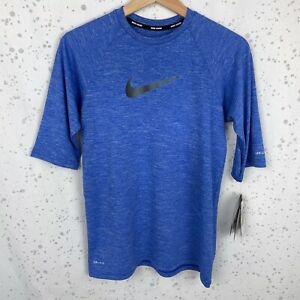 NWT Nike Swim Youth Size XL 13-15 Yrs Dry Short Sleeve Rashguard Blue UPF 40+