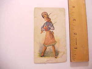 1890s GOLDEN EAGLE CIGARS TOBACCO CARD LOOKS LIKE CARICATURE OF ANNIE OAKLEY