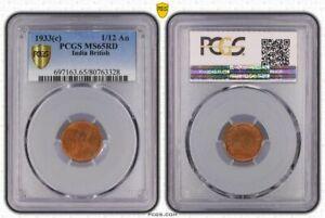 India British 1933 C 1/12 Anna PCGS MS65RD Beautiful Gem