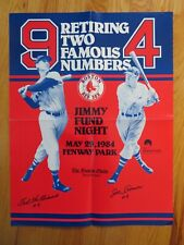 Retiring Two Famous Numbers TED WILLIAMS & JOE CRONIN 1984 BOSTON RED SOX Poster
