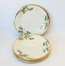 4 Lenox Holiday Nouveau Gold Salad Plates for Christmas Dinner